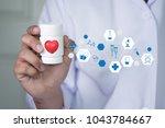 medicine doctor red heart... | Shutterstock . vector #1043784667