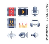 pixel art icons set  video... | Shutterstock .eps vector #1043788789
