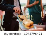 a waiter with a tray of snacks... | Shutterstock . vector #1043796421