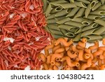 Colored pasta food background - stock photo