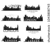 vector london city silhouettes | Shutterstock .eps vector #1043808745