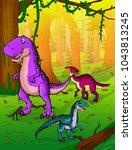 cute cartoon tyrannosaurus ... | Shutterstock .eps vector #1043813245