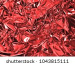 holographic red color wrinkled... | Shutterstock . vector #1043815111