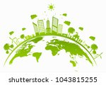 ecology concept with green city ... | Shutterstock .eps vector #1043815255