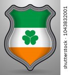 ireland flag with shamrock....   Shutterstock .eps vector #1043832001