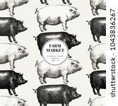 seamless farm vector pattern....   Shutterstock .eps vector #1043836267