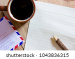 black coffee and notepaper and... | Shutterstock . vector #1043836315