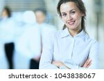 business lady with positive... | Shutterstock . vector #1043838067
