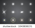 glowing light effects.... | Shutterstock .eps vector #1043838151