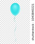 turquoise balloon with ribbon... | Shutterstock .eps vector #1043840221