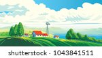 rural landscape with village ... | Shutterstock .eps vector #1043841511