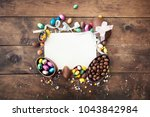 happy easter frame with... | Shutterstock . vector #1043842984