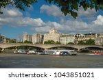 waterloo bridge london framed... | Shutterstock . vector #1043851021