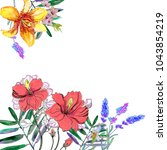 greeting card with watercolor...   Shutterstock . vector #1043854219
