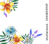 cute watercolor flower frame.... | Shutterstock . vector #1043854939