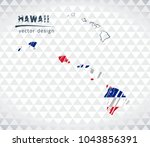 hawaii vector map with flag... | Shutterstock .eps vector #1043856391