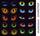 cartoon eyes vector devil... | Shutterstock .eps vector #1043857039