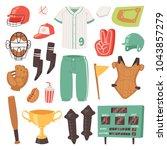 baseball vector catchers... | Shutterstock .eps vector #1043857279