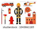 set of firefighter elements.... | Shutterstock .eps vector #1043861185