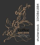 realistic coffee branch with... | Shutterstock .eps vector #1043861884