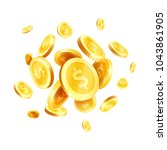 golden dollar coins splash or... | Shutterstock .eps vector #1043861905