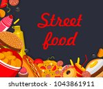fast food restaurant poster of... | Shutterstock .eps vector #1043861911