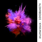 explosion of colorful dust on... | Shutterstock . vector #1043864074