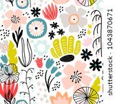 seamless pattern with creative... | Shutterstock .eps vector #1043870671