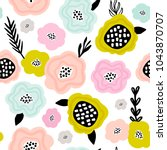 Stock vector seamless pattern with creative decorative flowers in scandinavian style great for fabric textile 1043870707