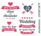 wedding retro vintage vector... | Shutterstock .eps vector #1043872879