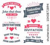 wedding retro vintage vector... | Shutterstock .eps vector #1043872894