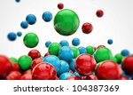 gumballs falling isolated on white background - stock photo