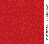 seamless pattern with red... | Shutterstock . vector #1043874604