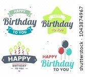 happy birthday vector logo for... | Shutterstock .eps vector #1043874967