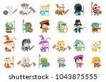 set fantasy rpg game heroes... | Shutterstock .eps vector #1043875555