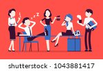lunchtime in office. team of... | Shutterstock .eps vector #1043881417