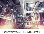 industrial steel pipelines ... | Shutterstock . vector #1043881951