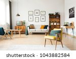 retro living room interior with ... | Shutterstock . vector #1043882584