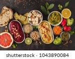 vegan food background.... | Shutterstock . vector #1043890084