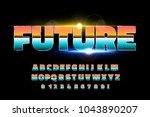 shiny chrome alphabet retro...   Shutterstock .eps vector #1043890207
