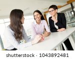 business people having fun in... | Shutterstock . vector #1043892481