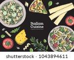 italian cuisine top view frame. ... | Shutterstock .eps vector #1043894611