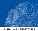 gearbox sketch. vector... | Shutterstock .eps vector #1043896375