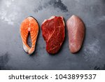 raw food salmon oily fish steak ... | Shutterstock . vector #1043899537