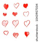 heart and love drawing white... | Shutterstock . vector #1043907034