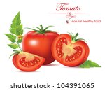 beautiful realistic tomato.... | Shutterstock .eps vector #104391065
