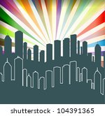 city and burst background... | Shutterstock .eps vector #104391365