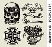 set of vintage motorcycle... | Shutterstock .eps vector #1043915659
