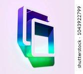 white clone icon. 3d... | Shutterstock . vector #1043922799