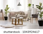 beige sofa standing against the ... | Shutterstock . vector #1043924617
